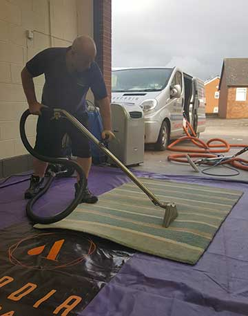 Post Air Dust and Vacuum Step 11 of Rug Cleaning Process