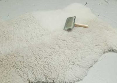 Brushing a hide rug