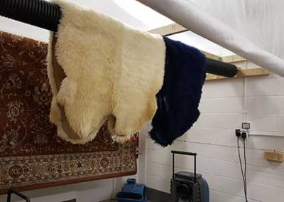 Sheepskin rugs in the drying room